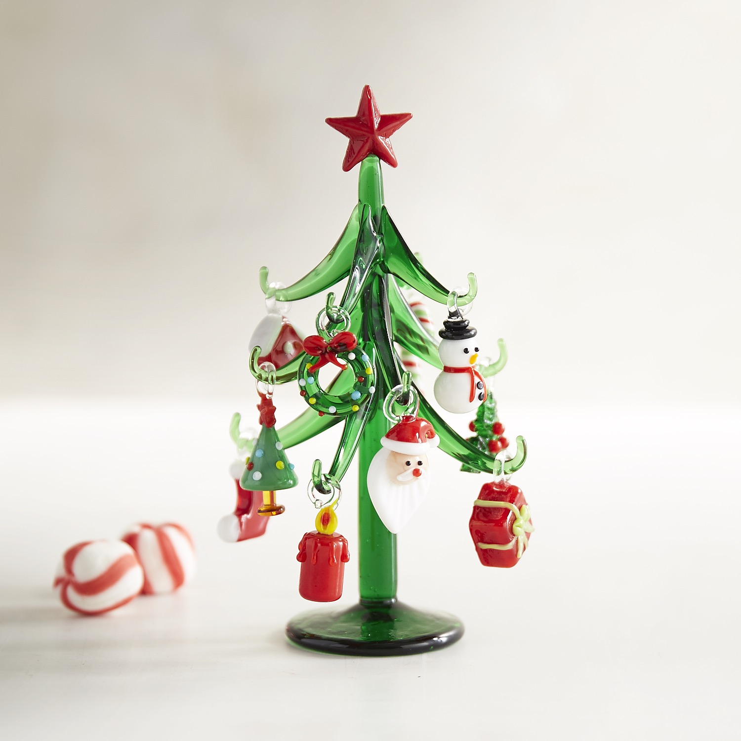 Glass Tree with Ornaments Collectible