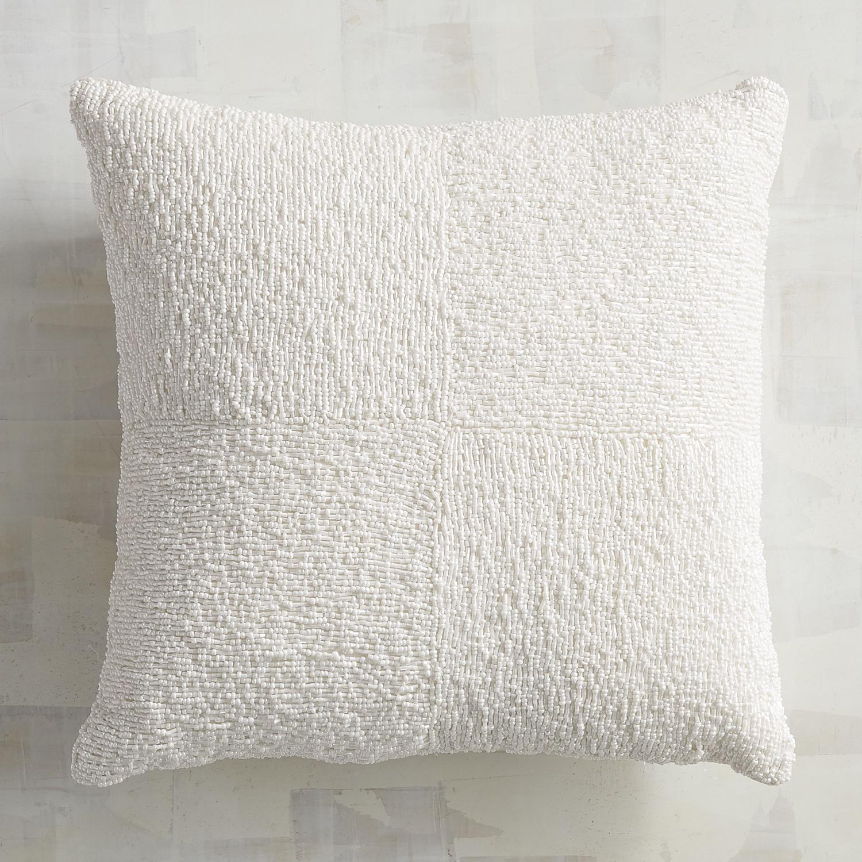 Beaded White Box Pillow