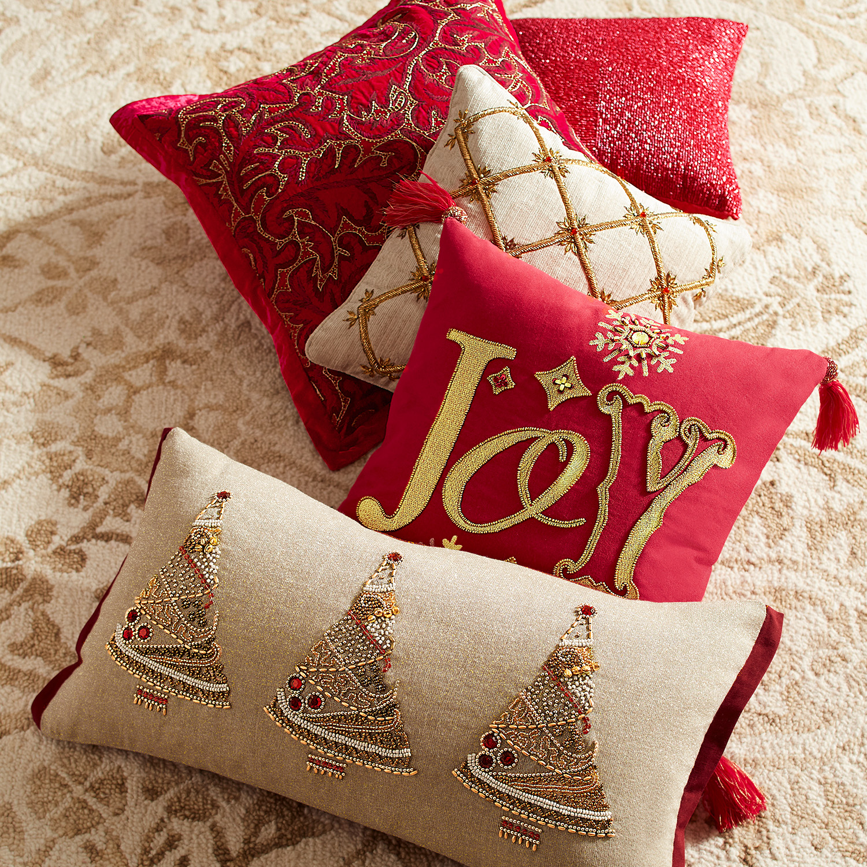 Crimson Embroidered Scroll Zardozi Pillow