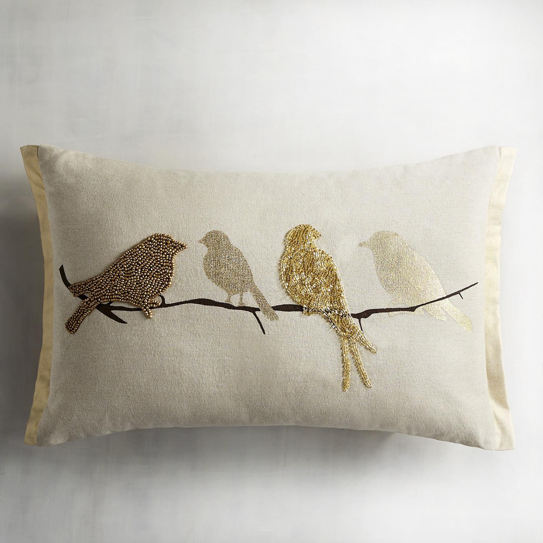 Golden Birds on Branch Beaded Lumbar Pillow