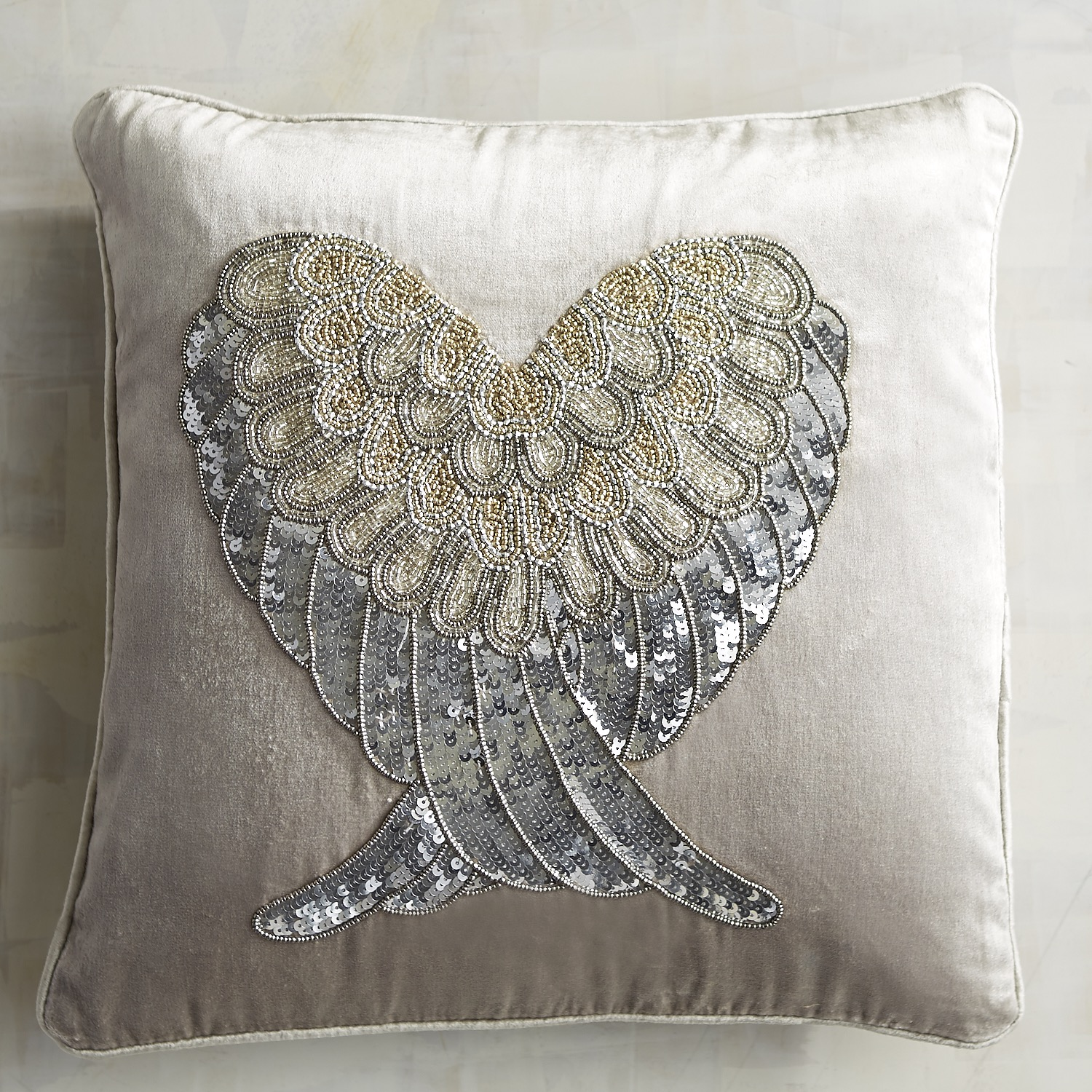 Silver Sequined & Beaded Wing Heart Pillow