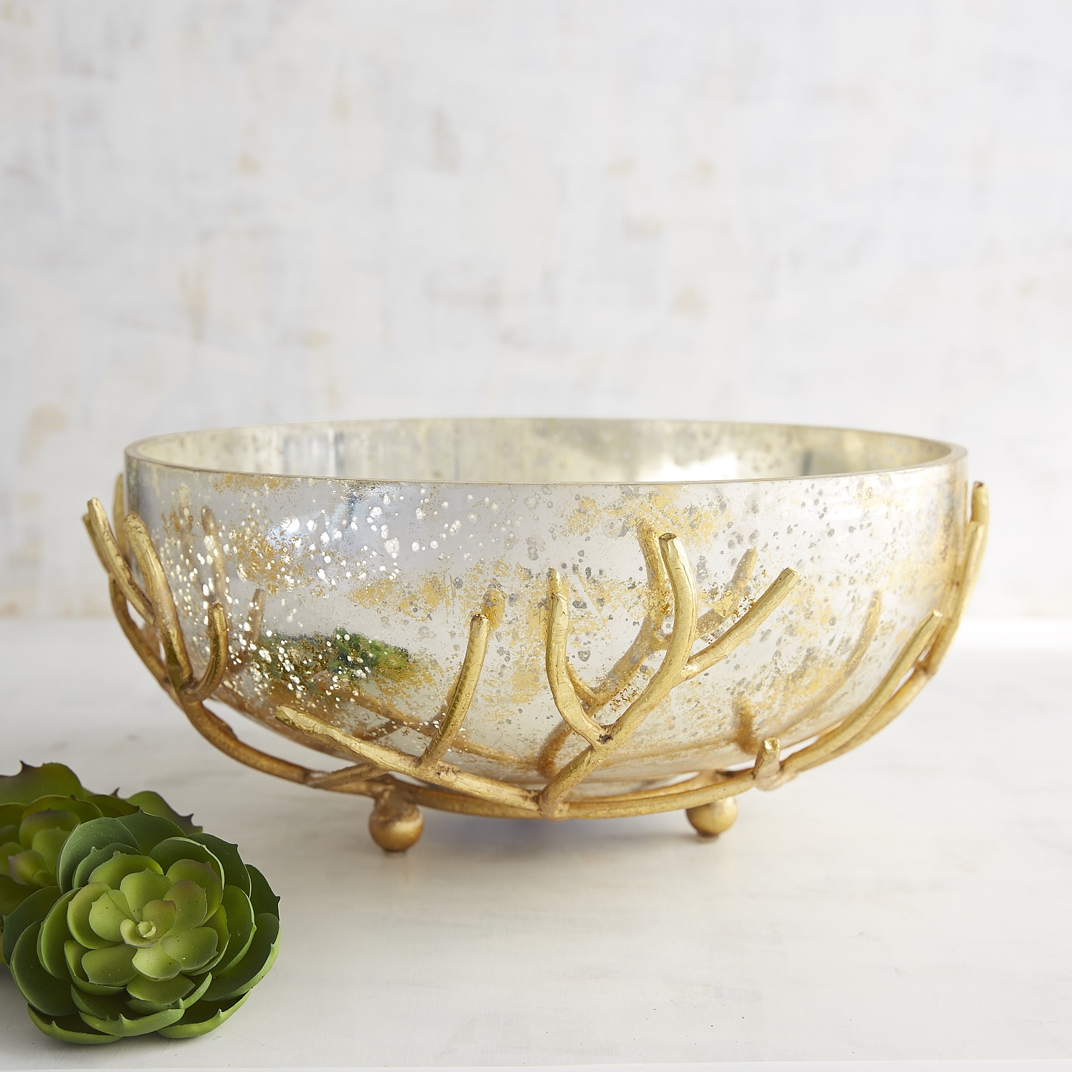 Mercury Glass Bowl with Stand