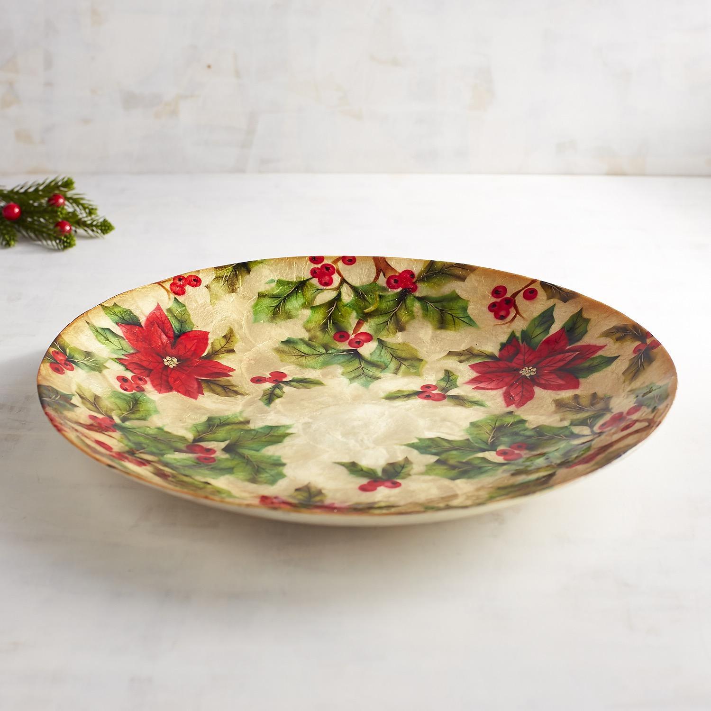 Capiz Poinsettia Decorative Platter