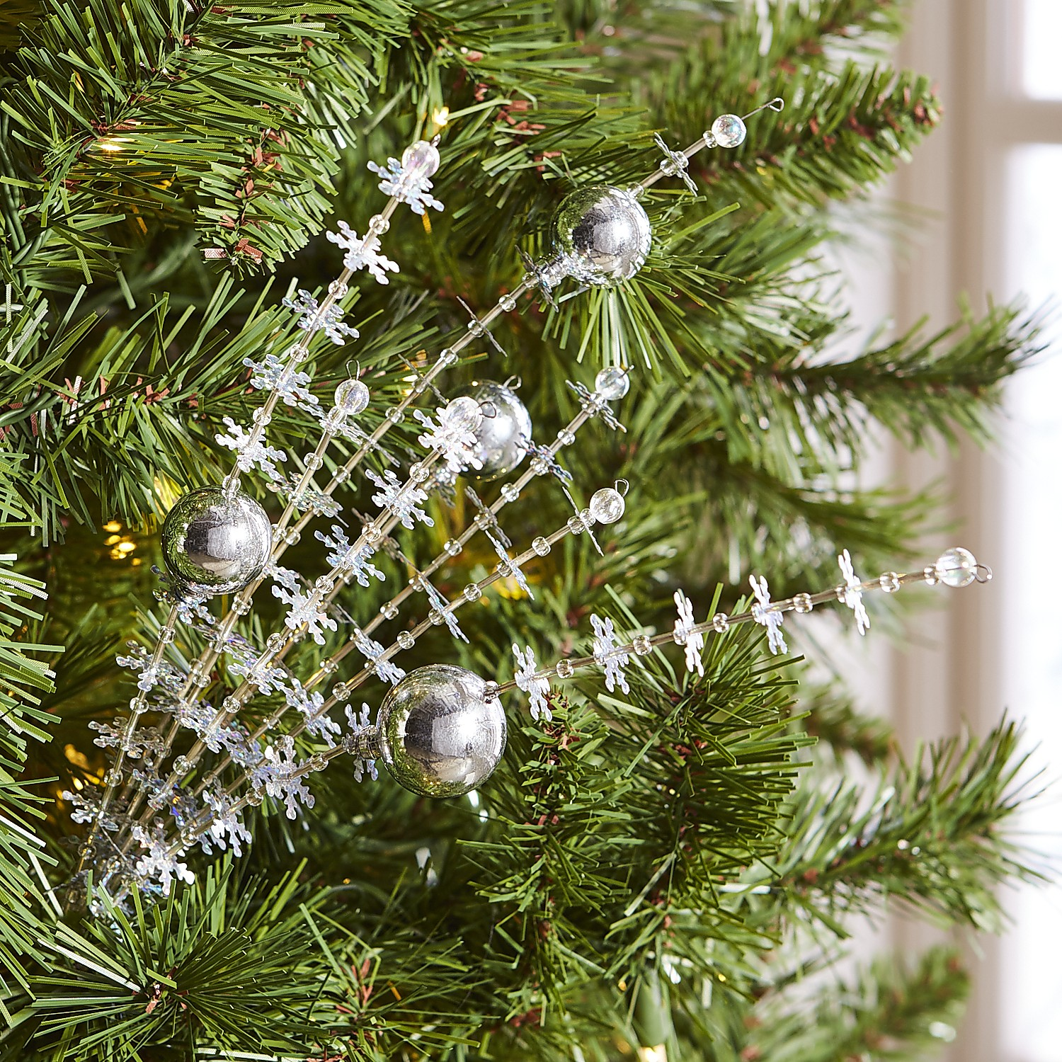 Silver Ornament & Sequin Tree Pick