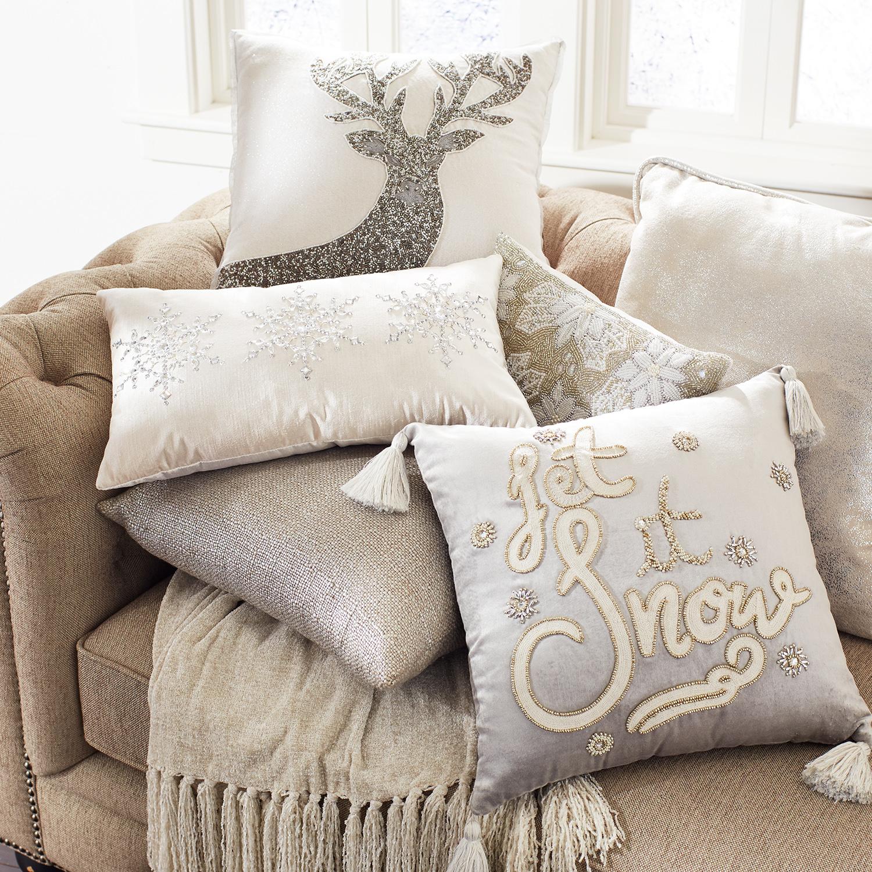 Metallic Silver Basketweave Pillow
