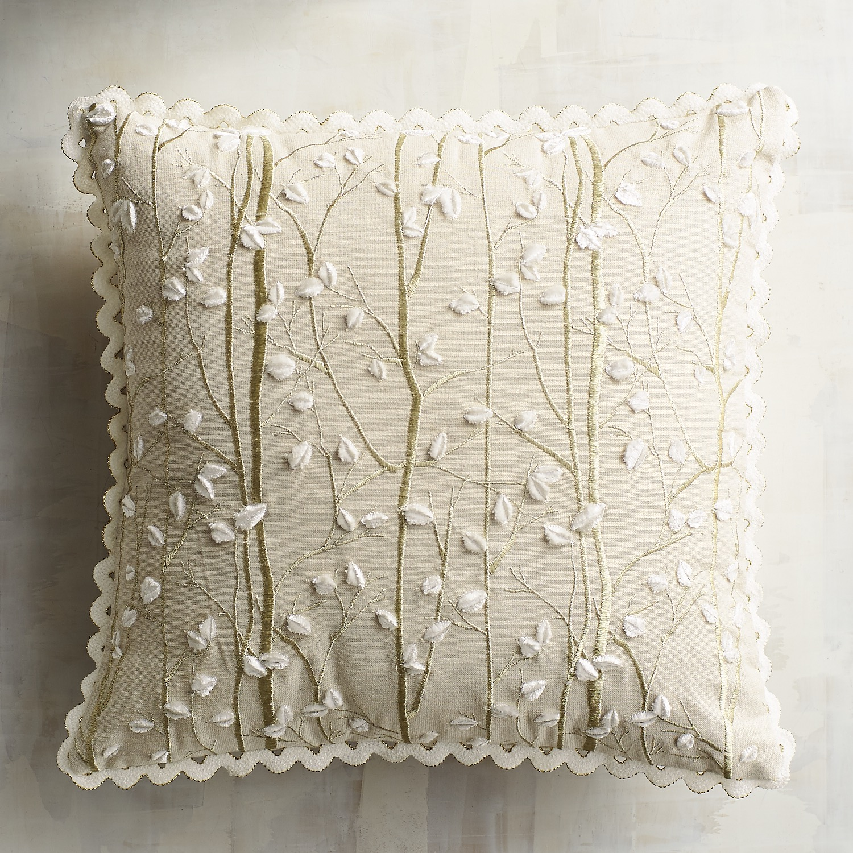 Gilded Birch Chenille Leaves Pillow