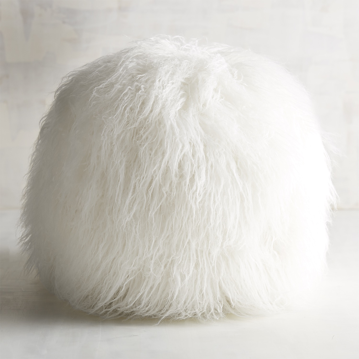 Oversized Faux Mongolian Fur Snowball Pillow