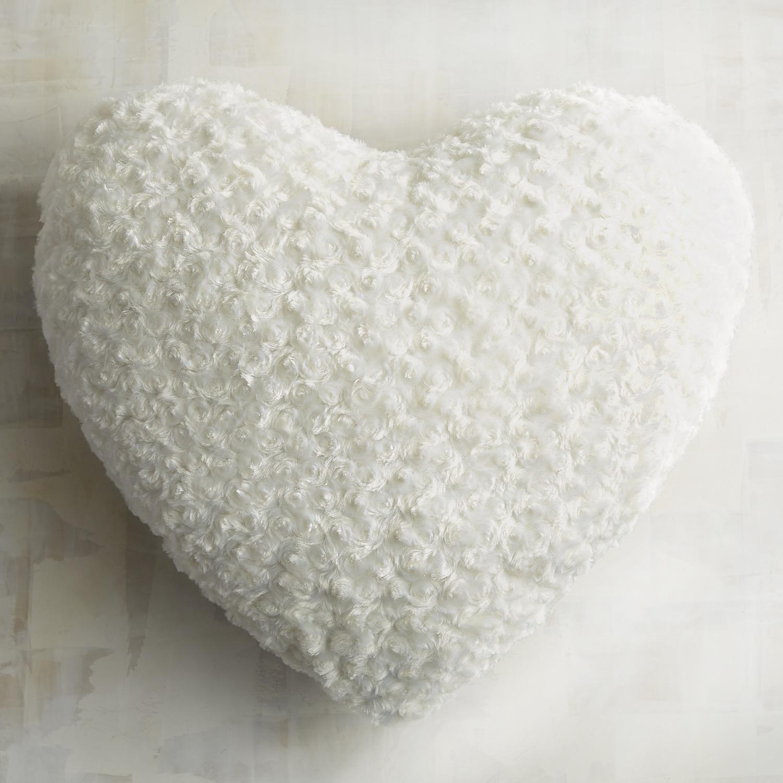 Ivory Fuzzy Heart Pillow