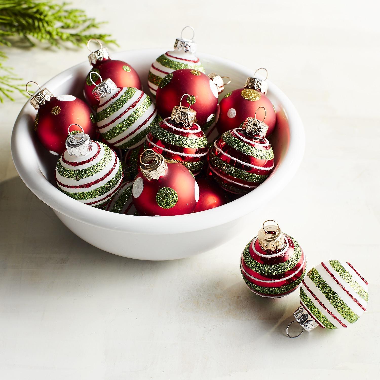 Boxed Set of 20 Mini Stripe & Dot Ornaments