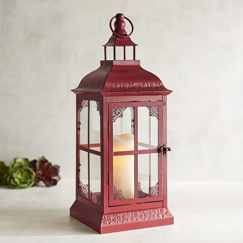 Reina Small Red Metal Lantern