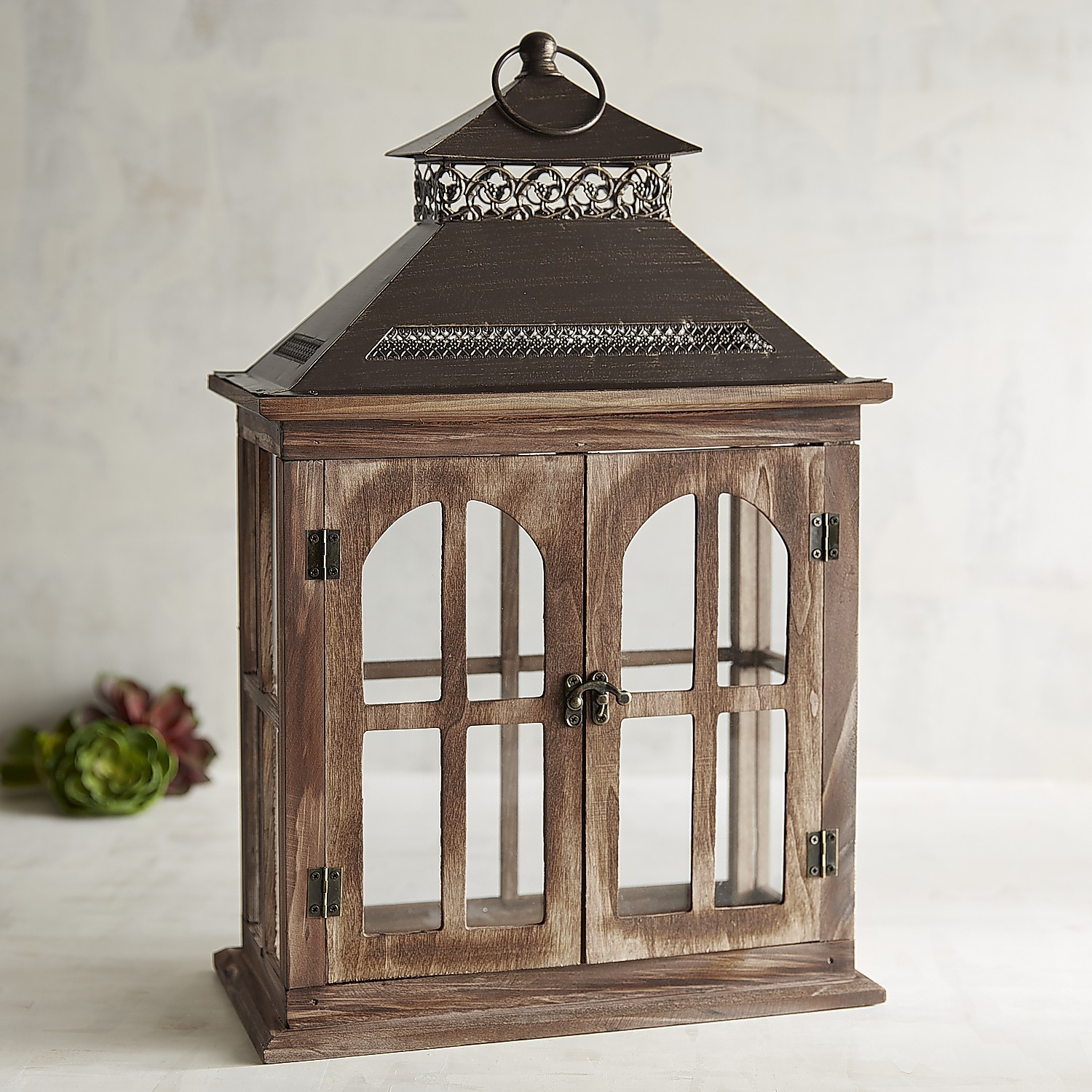 Brown Wood Window Lantern