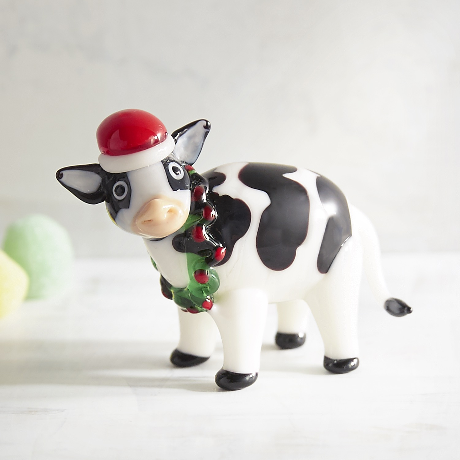 Glass Festive Cow Collectible