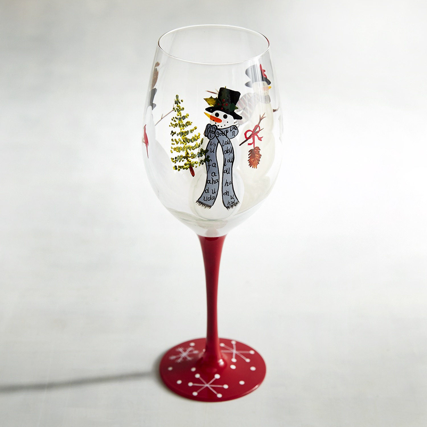 Snowman Trio Painted Wine Glass