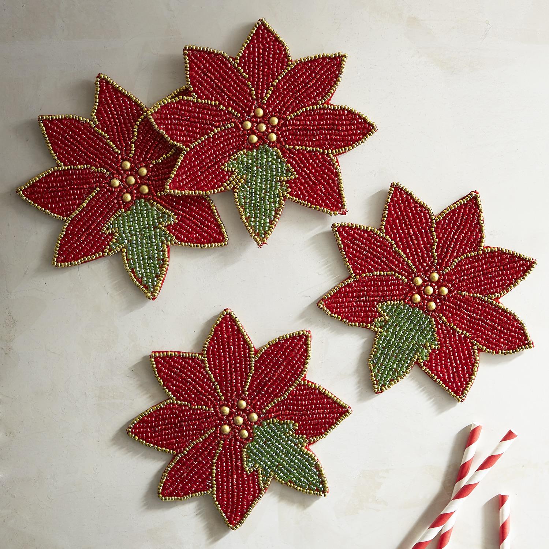 Poinsettia Beaded Flower Coaster Set