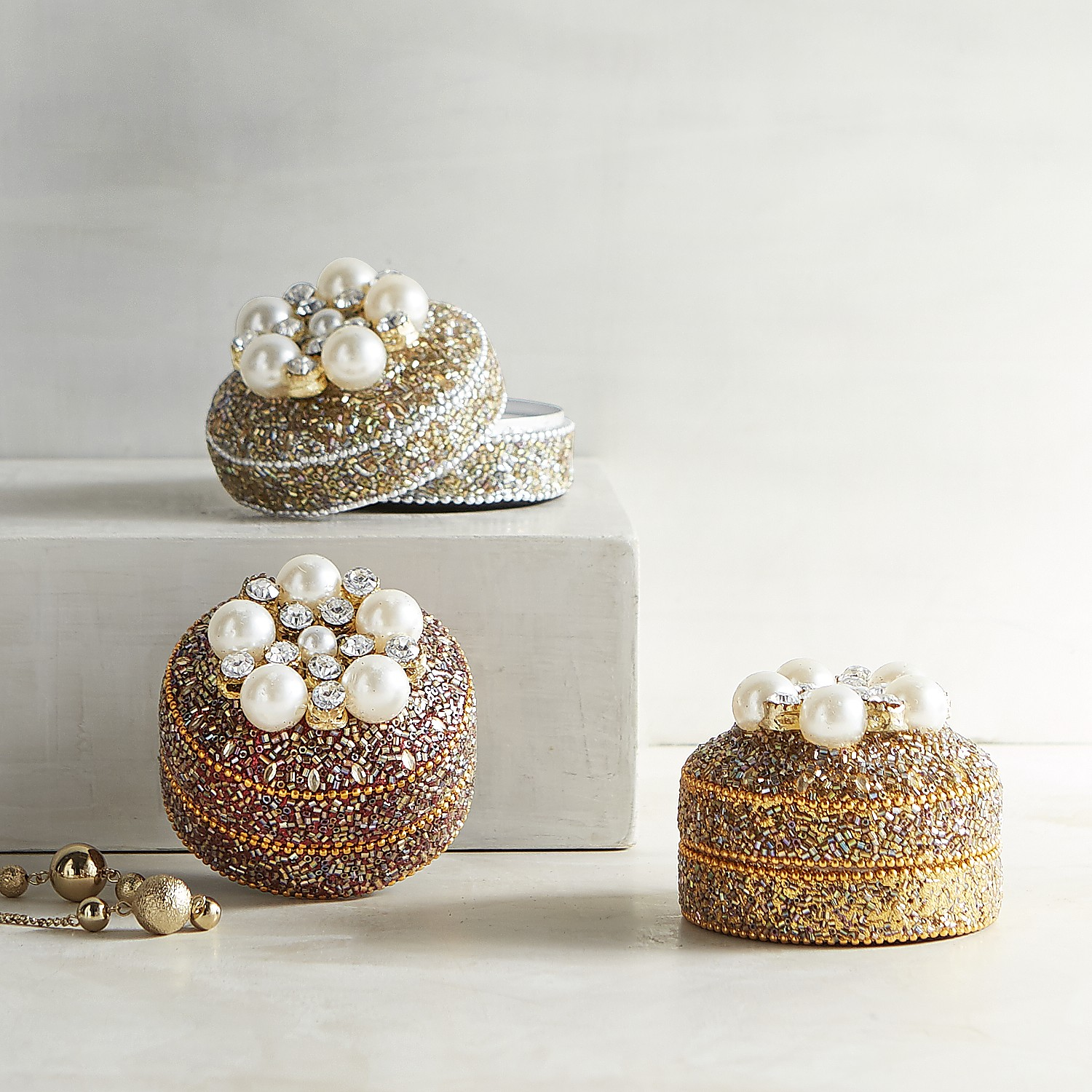 Set of 3 Pearl Mini Boxes