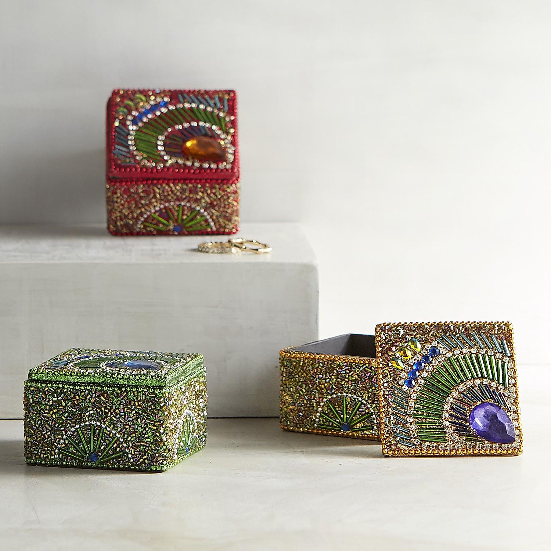 Set of 3 Peacock Mini Boxes