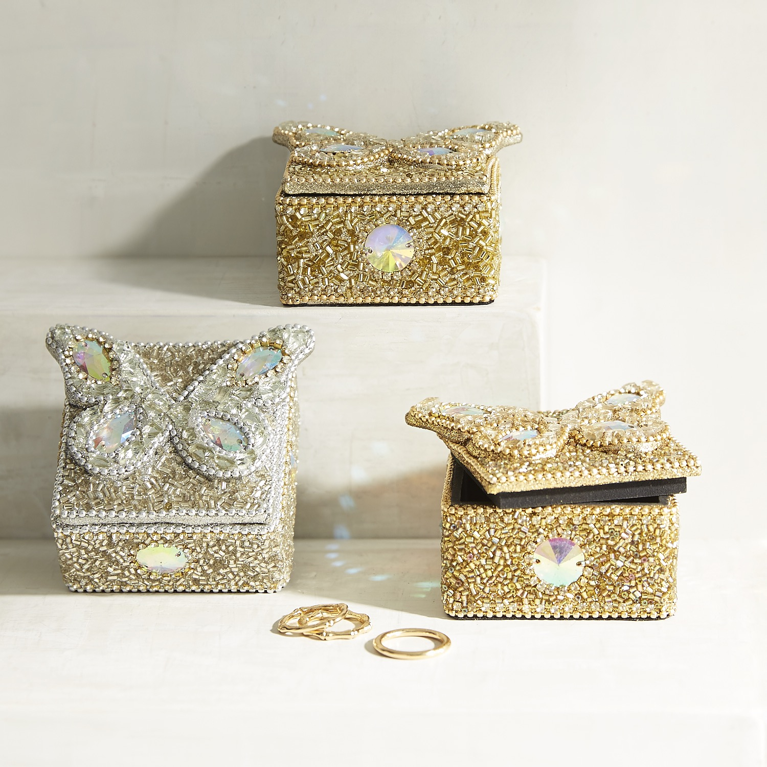 Set of 3 Beaded Butterfly Mini Boxes