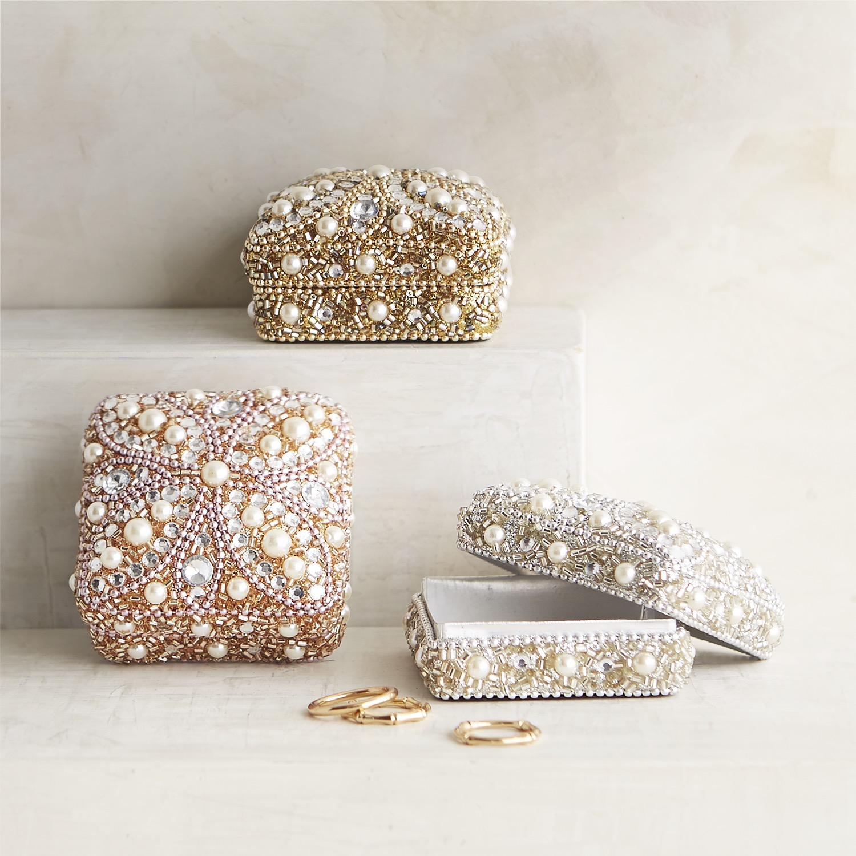 Set of 3 Beaded Petals & Pearls Mini Boxes