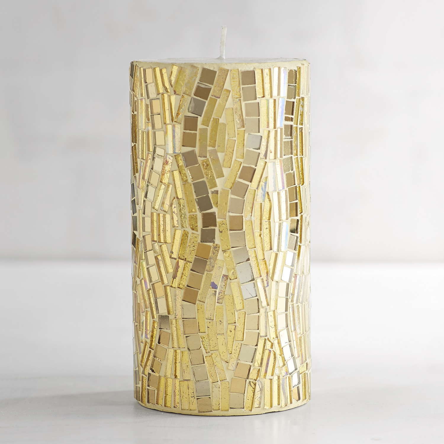 Gold & Silver Mosaic 3x6 Unscented Pillar Candle