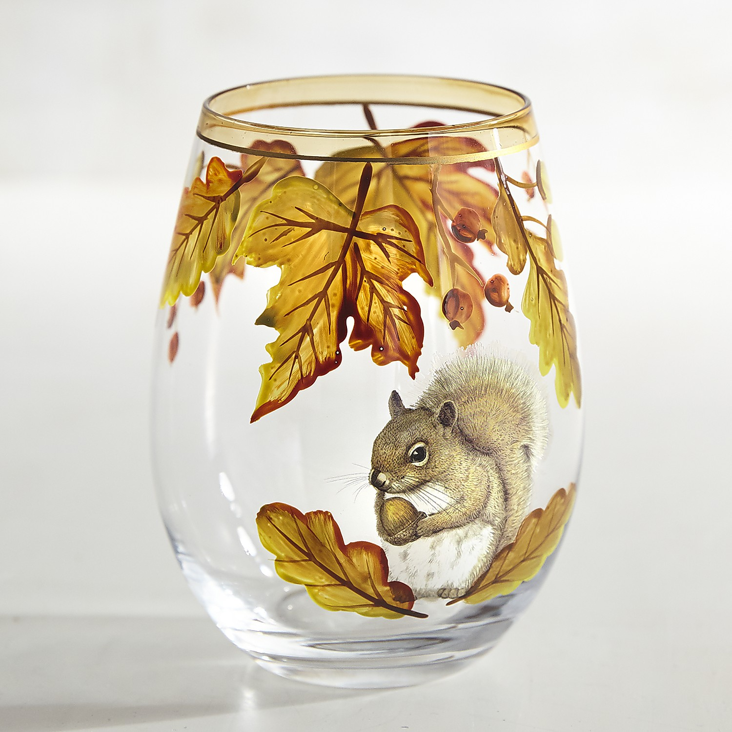 Mazey the Squirrel Painted Stemless Wine Glass