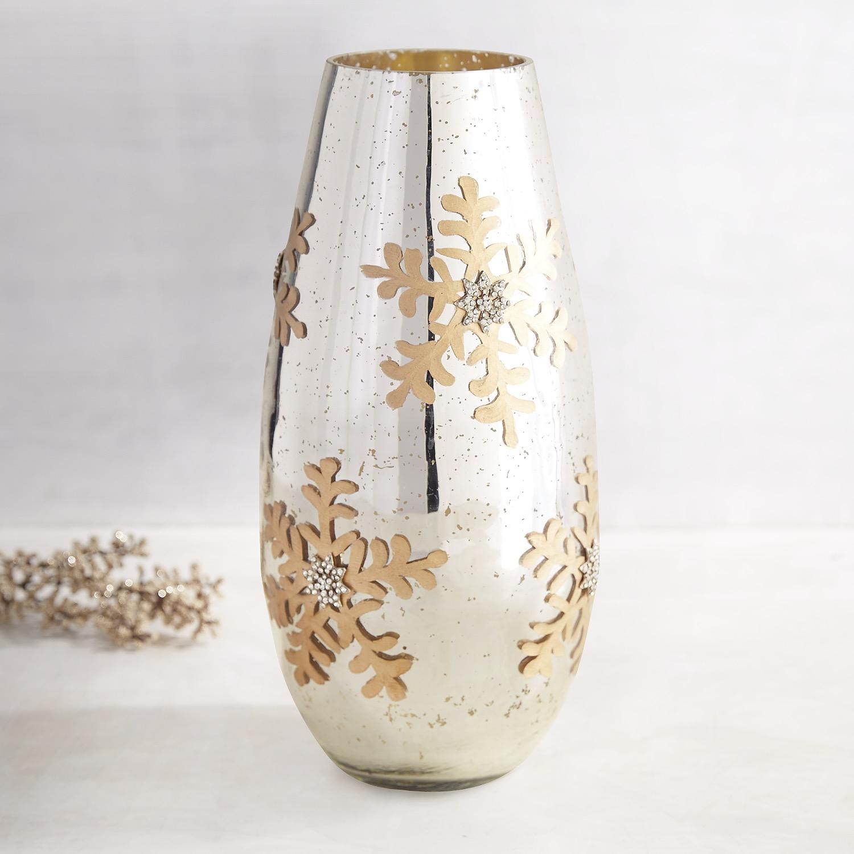 Mercury Glass Jeweled Snowflake Vase