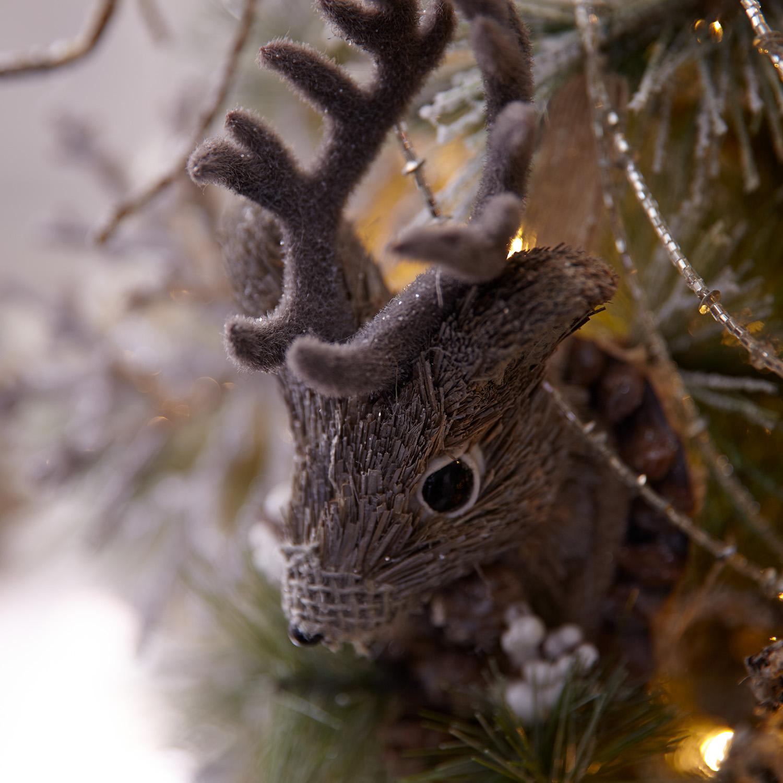 Natural Deer Head Plaque Ornament