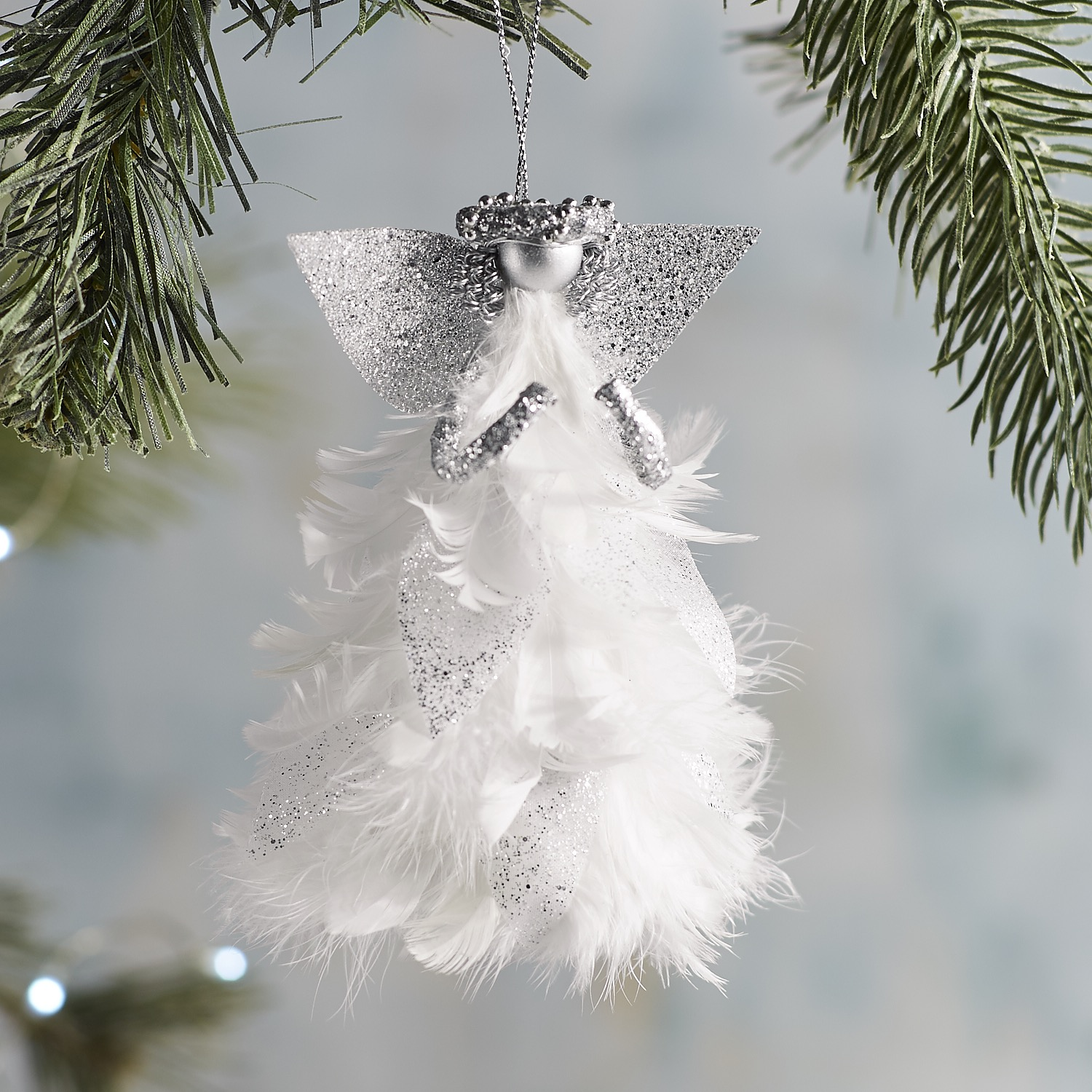 Silver Feather Angel Ornament