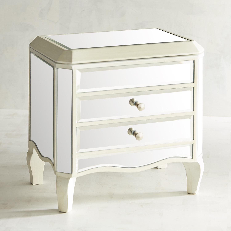 Mirrored Ivory Jewelry Box on Legs
