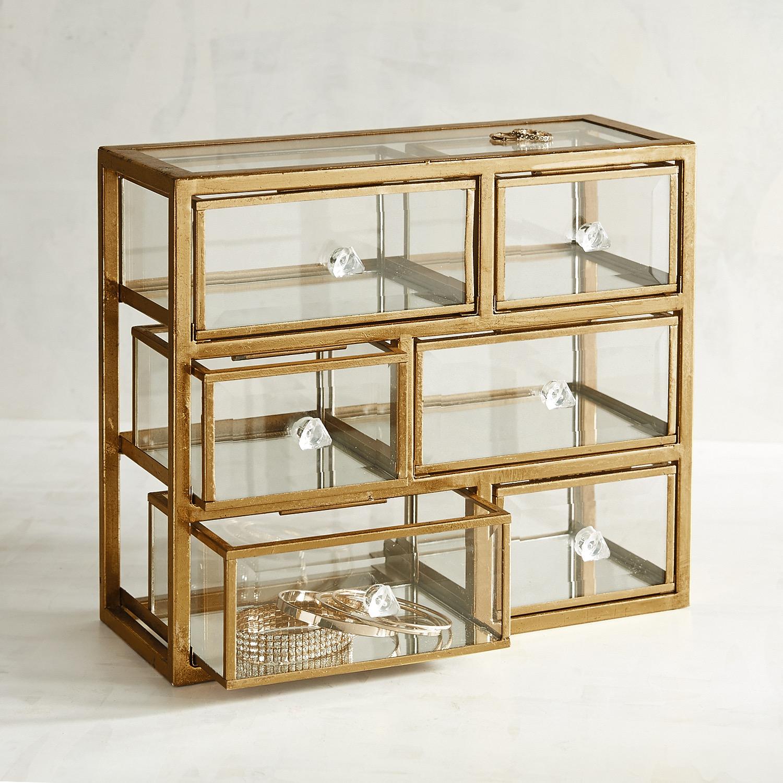 Glass & Metal Jewelry Box