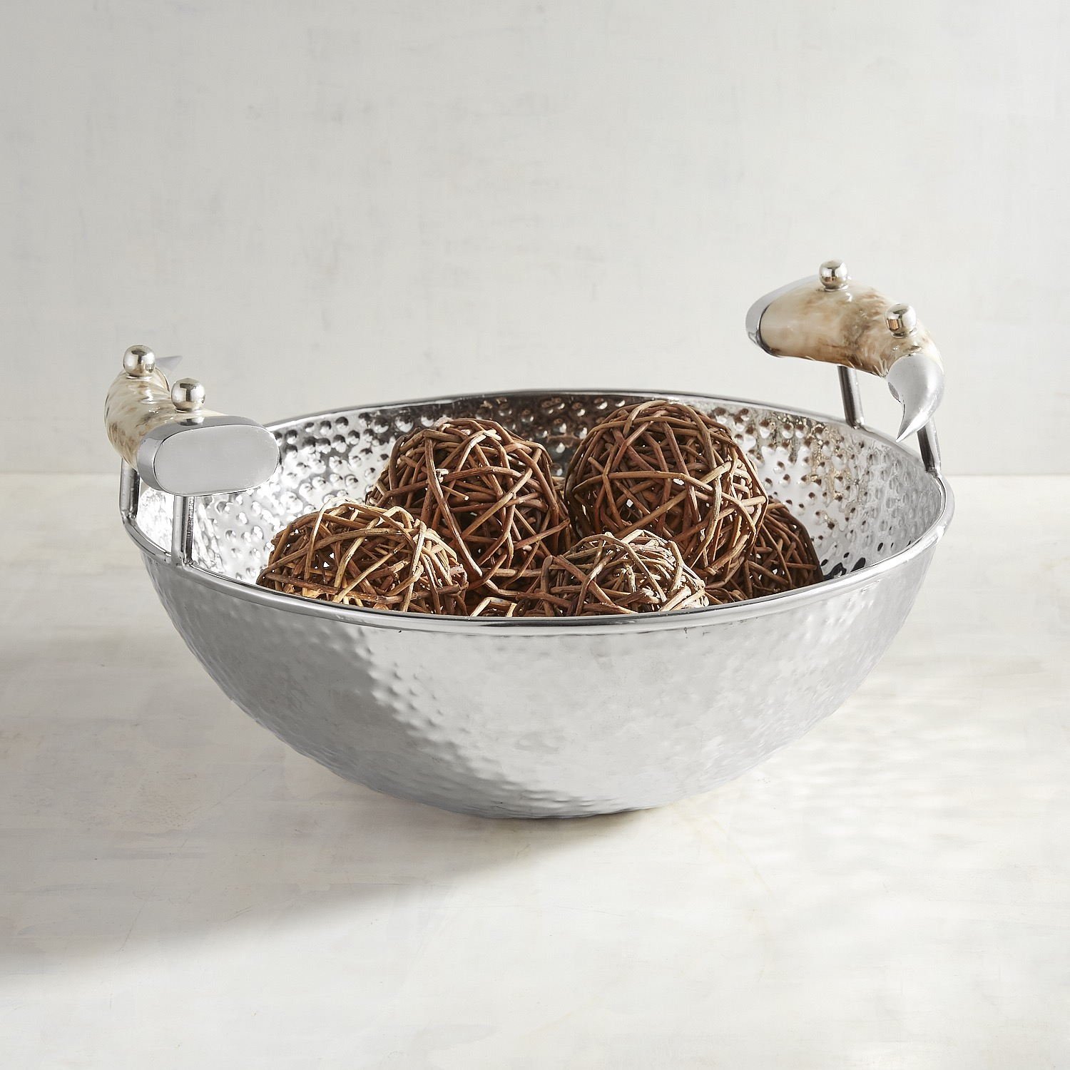 Hammered Metal Decorative Bowl with Handles