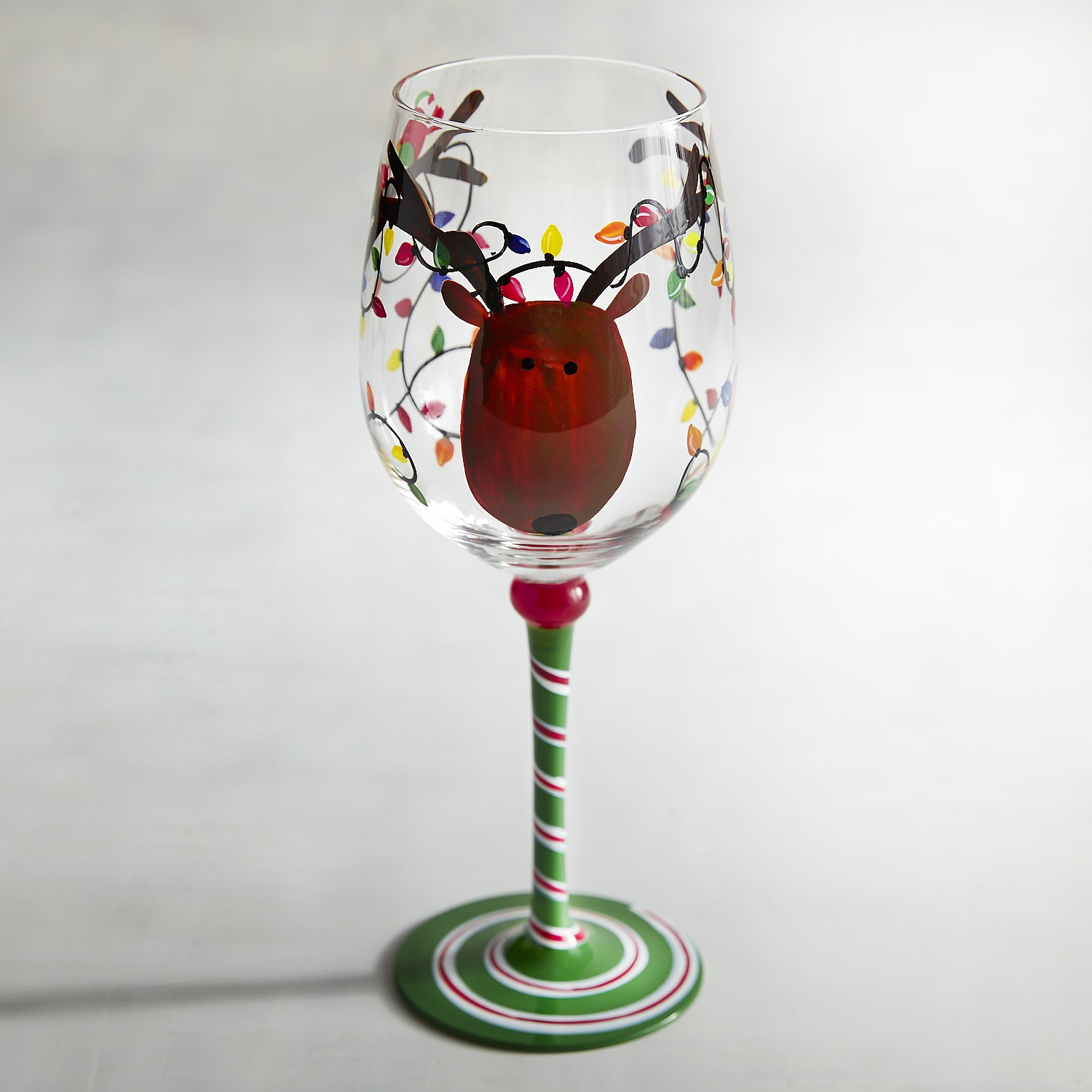 Reindeer & Christmas Lights Painted Wine Glass
