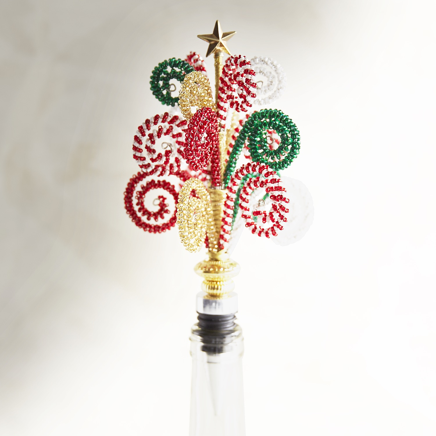 Candy Cane Beaded Bottle Stopper