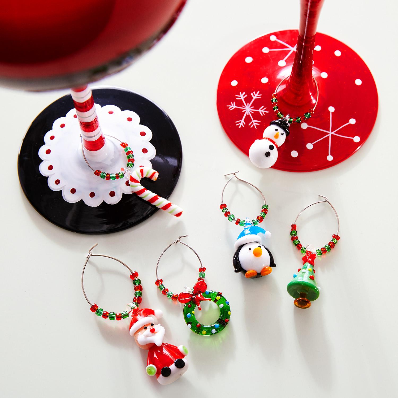 Christmas Icons Wine Charm Set