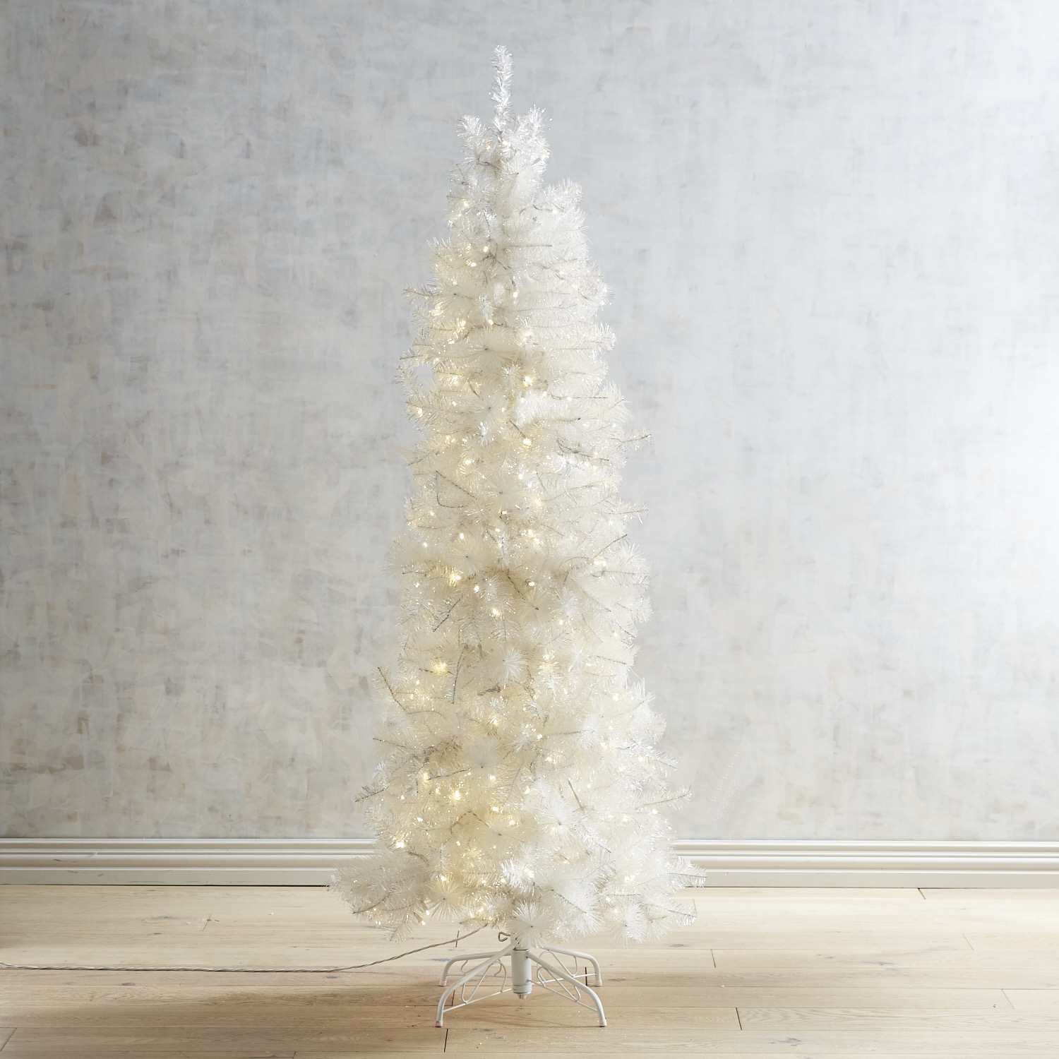 Pre-Lit Artificial White Shimmer Slim 6.5' Tree