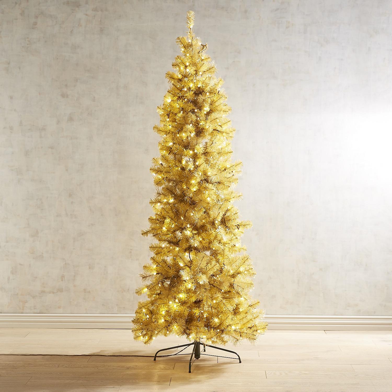 Pre-lit Artificial Gold Glitter 7.5' Tree