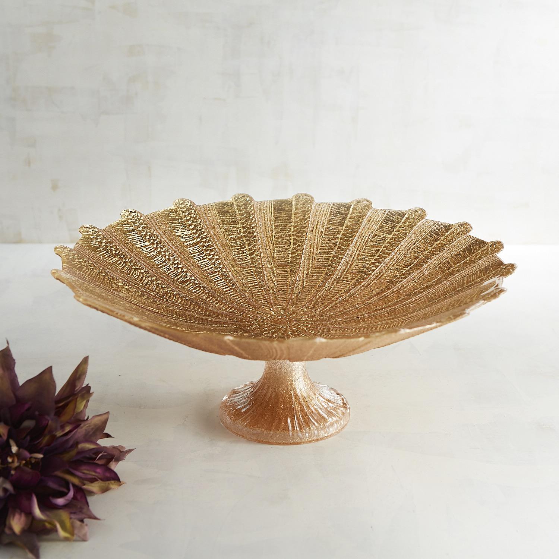 Glittered Gold Decorative Bowl on Pedestal