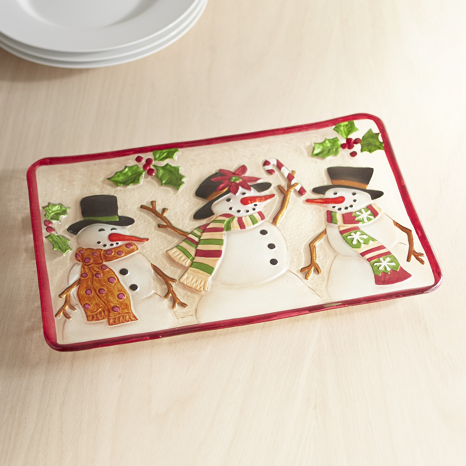 Snowman Glass Serving Platter