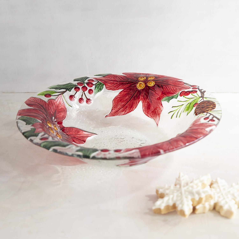 Poinsettia Glass Serving Bowl