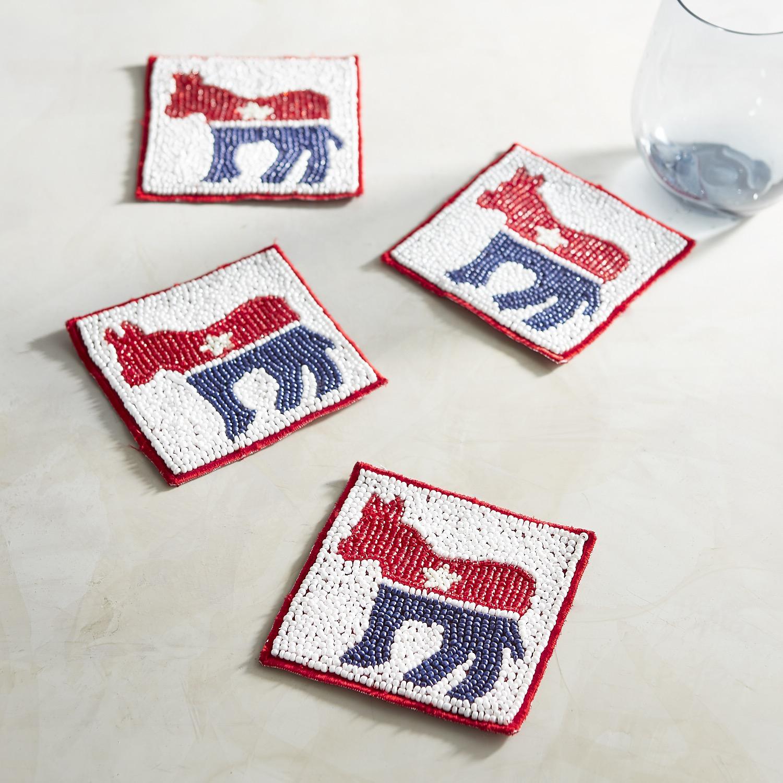 Beaded Donkey Election Coaster Set
