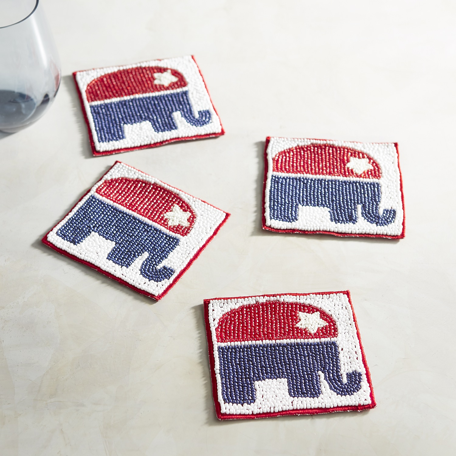 Beaded Elephant Election Coaster Set