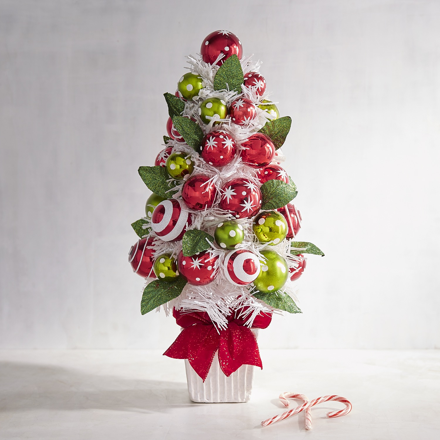 White PVC Tree with Red & Green Balls