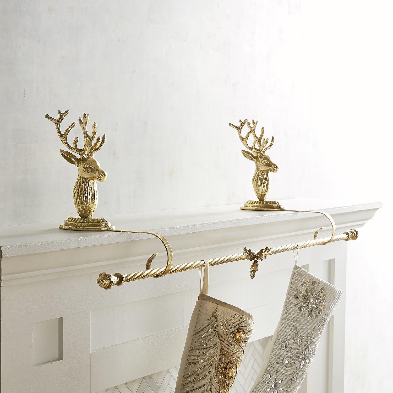 Gold Deer Stocking Holder Rod Set