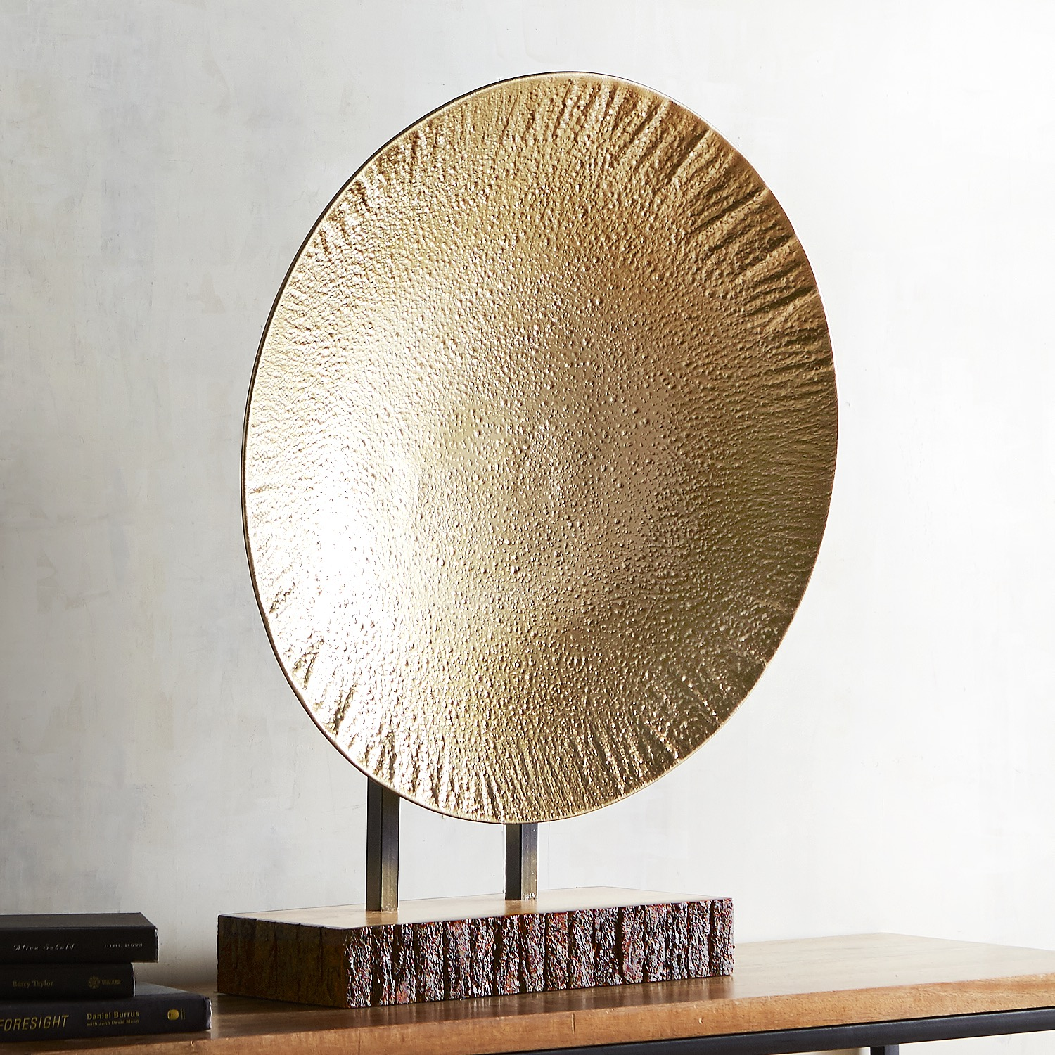 Textured Metal Platter with Bark Base