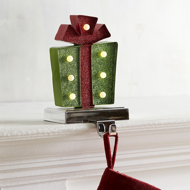 LED Green Gift Stocking Holder