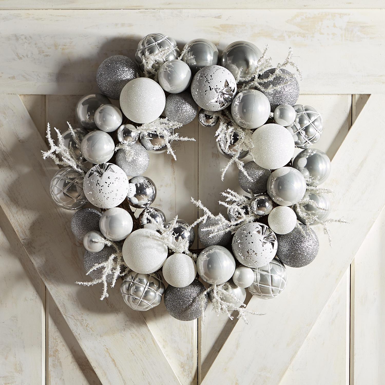 Silver & White Ornament Ball Wreath