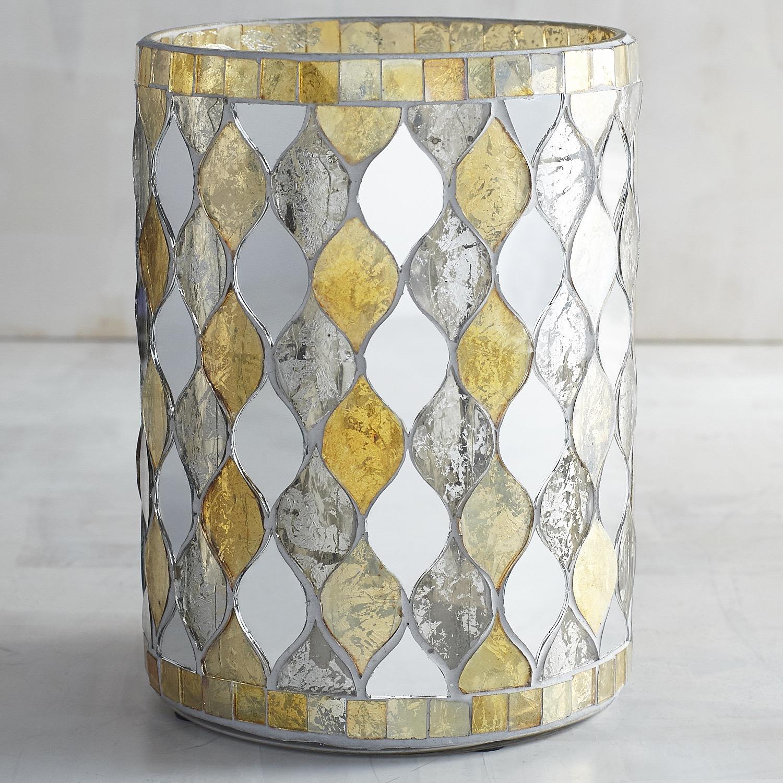 Champagne Mirrored Mosaic Hurricane Candle Holder
