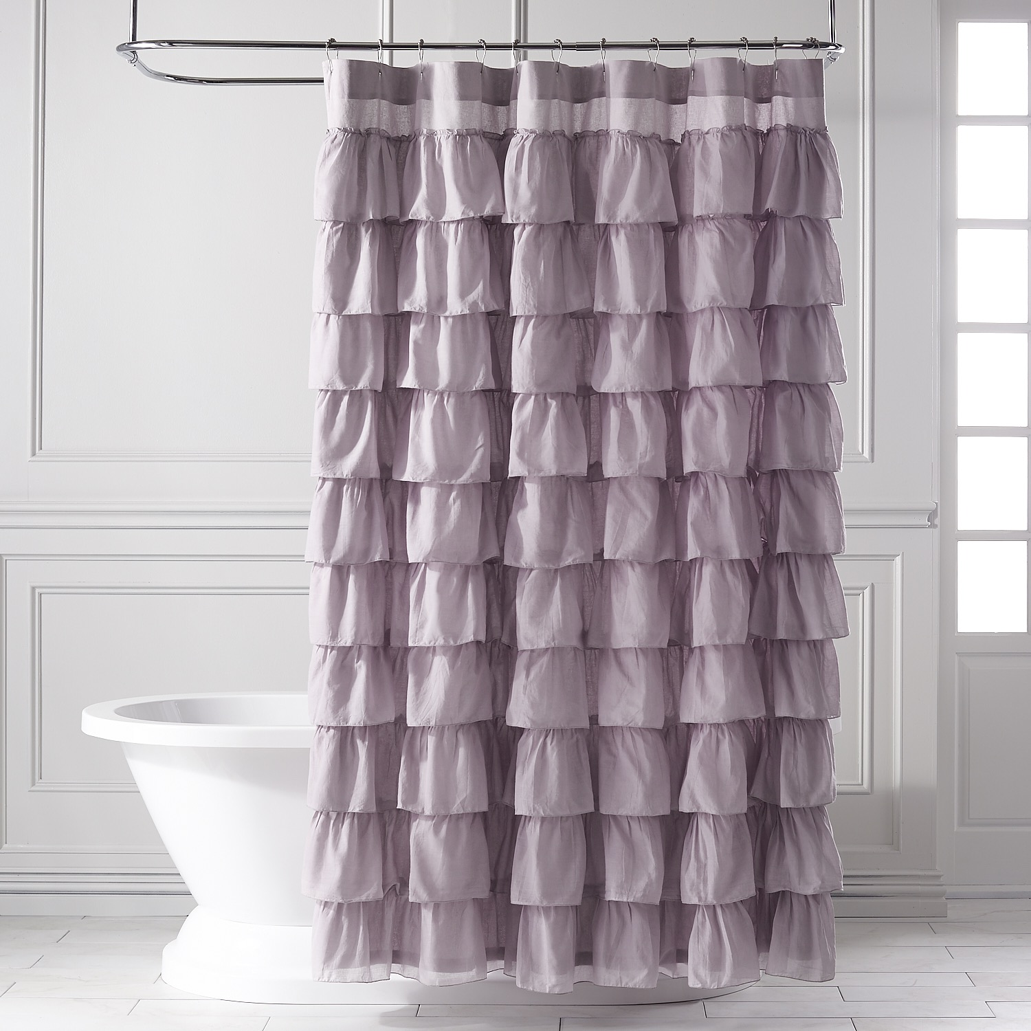 Ruffled Lilac Shower Curtain