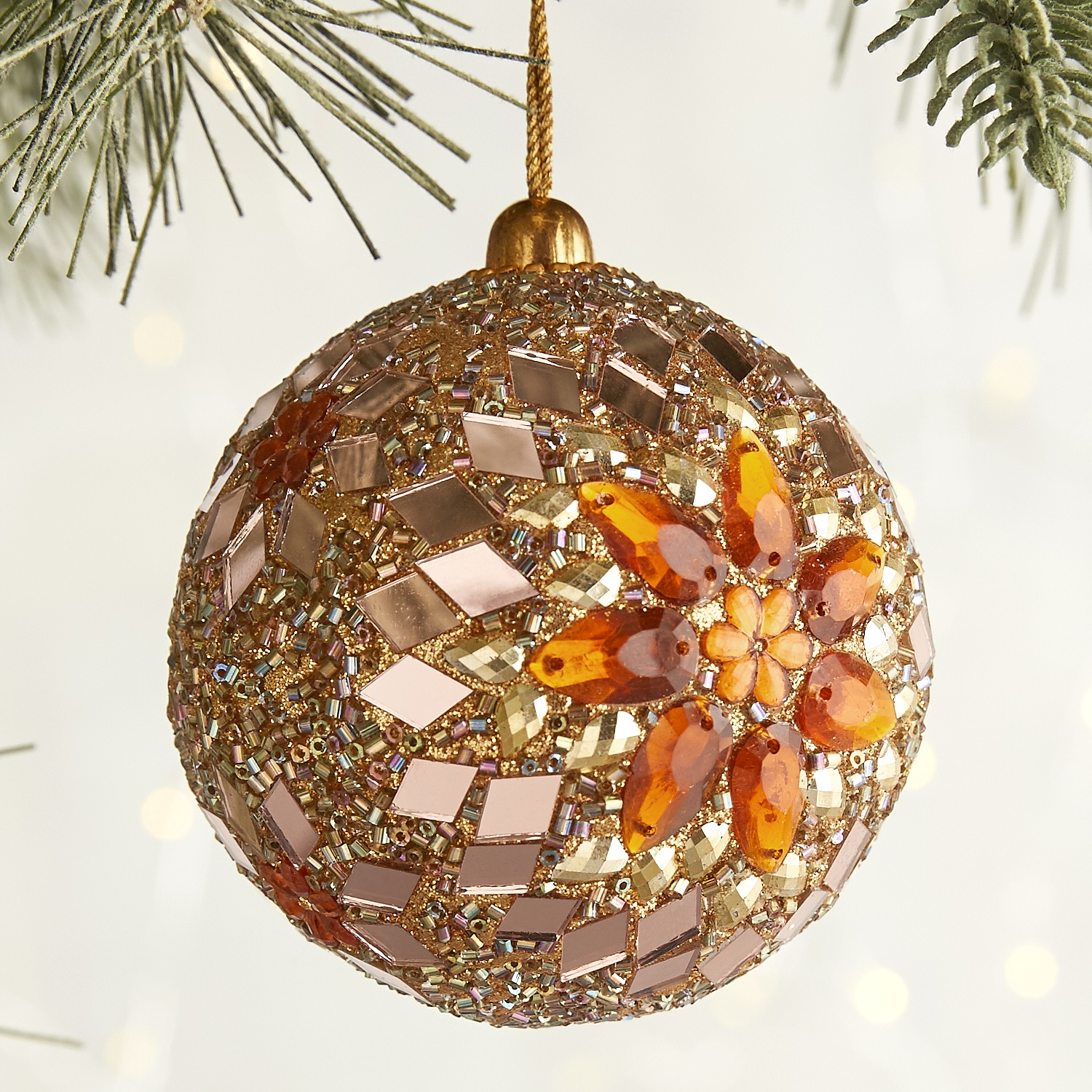 Gold & Copper Beaded Ball Ornament