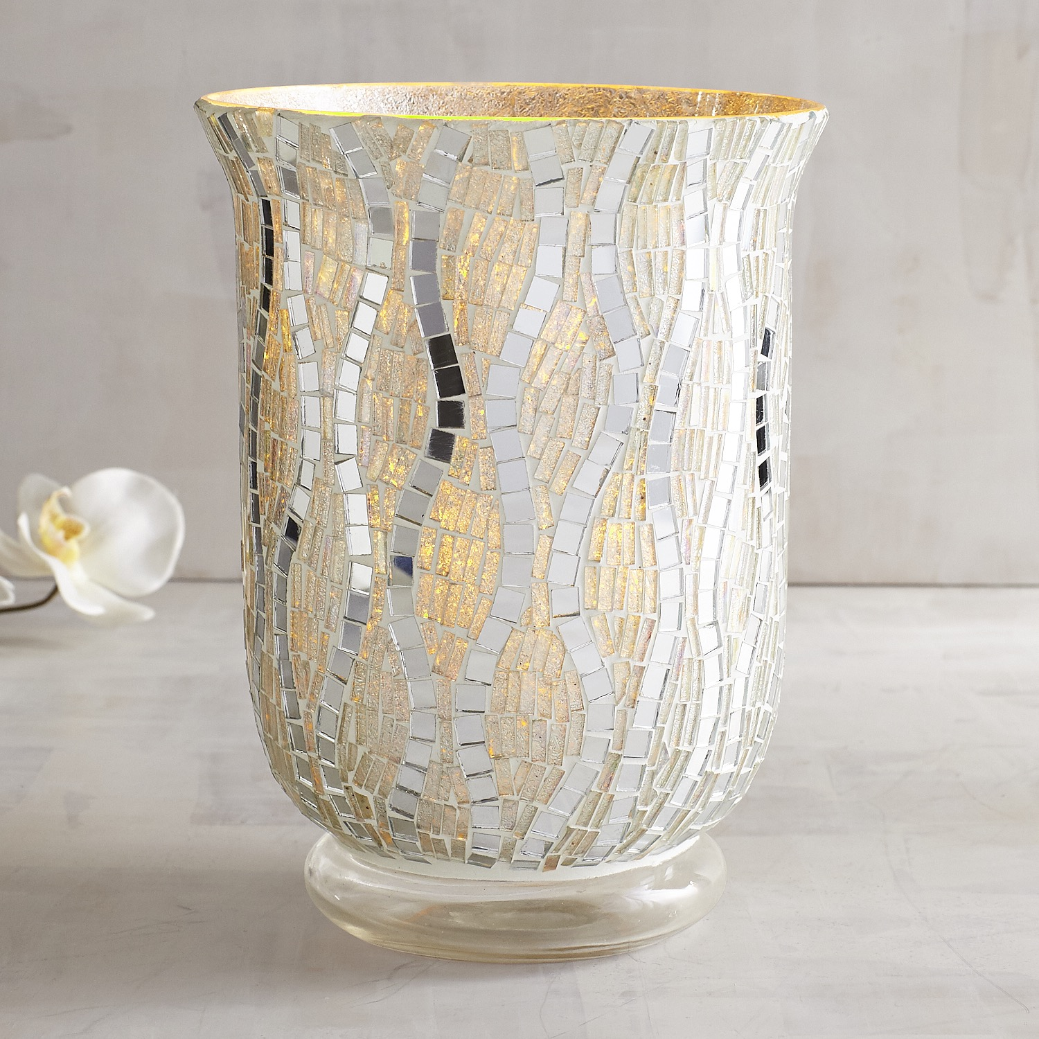 Silver Wave Mosaic Hurricane Candle Holder