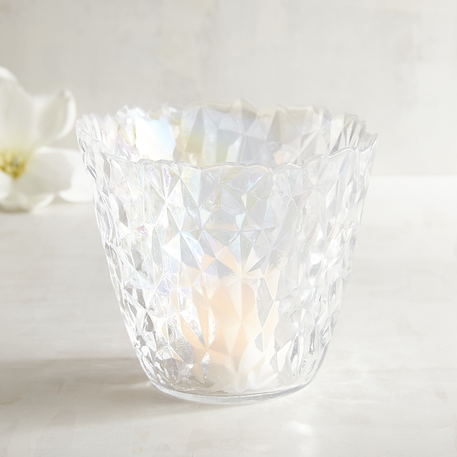 Luster Glass Hurricane Candle Holder